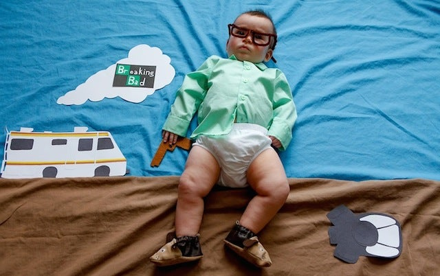 Super cute baby dressed up and posed as famous TV show characters