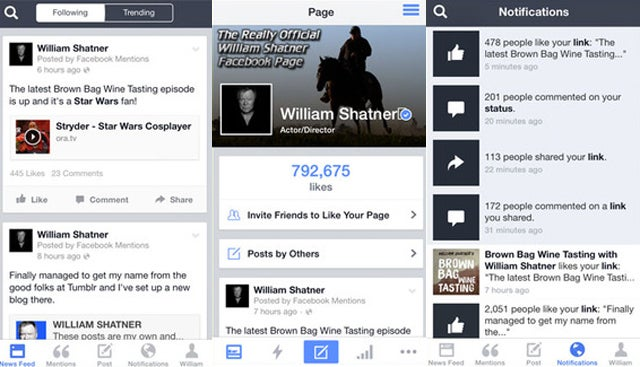 William Shatner's Not a Fan of Facebook's Celeb App, Mentions
