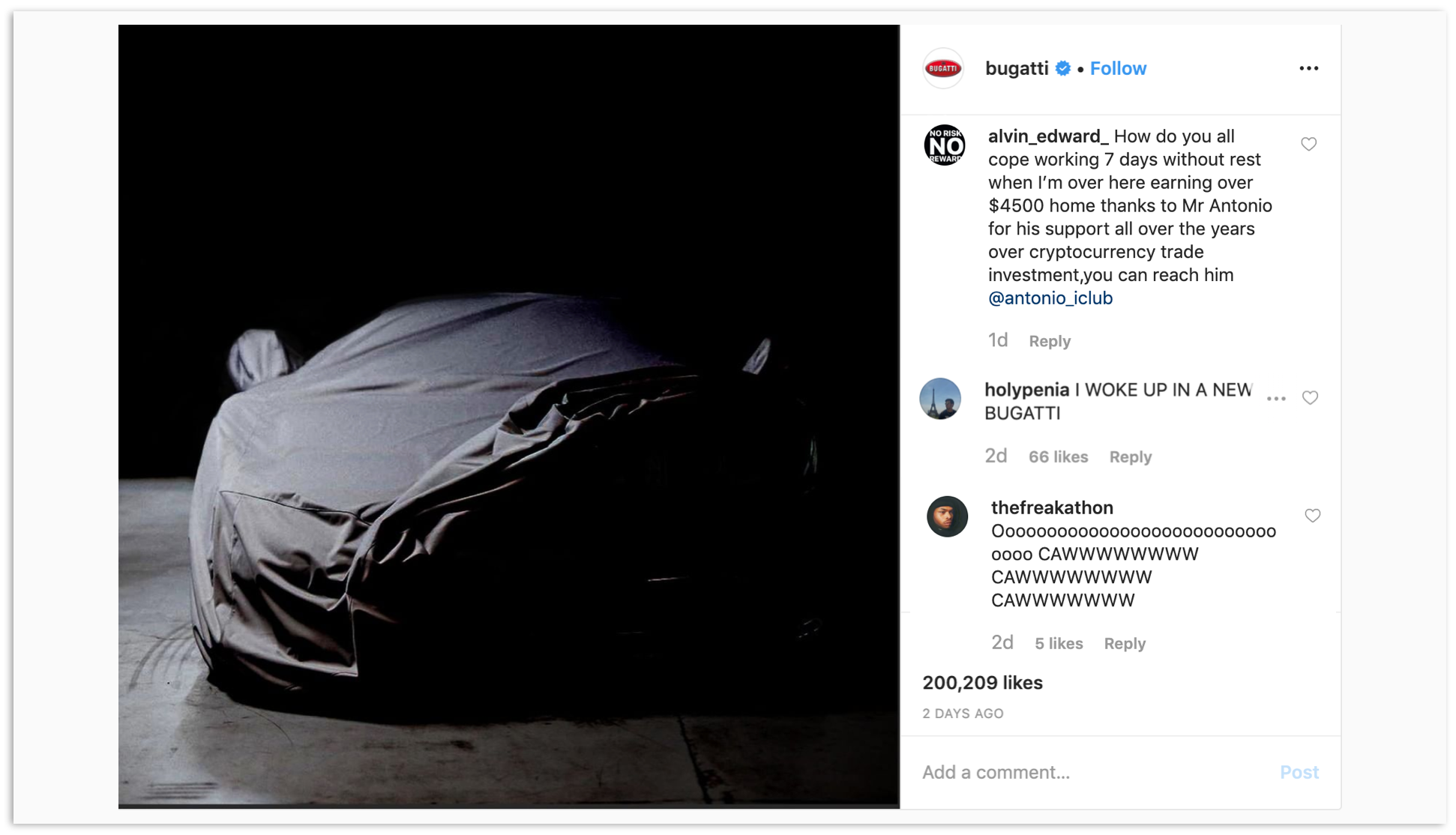 I Am Utterly Fascinated By Bugatti's Instagram Comments
