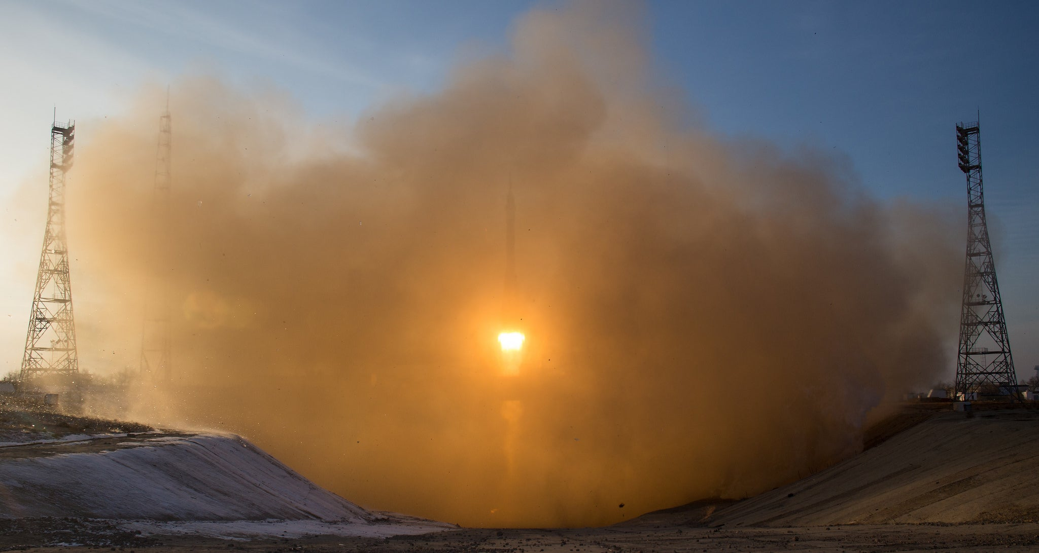 Here's a Rare View of the Soyuz Launch From the Hellish Flame Trench