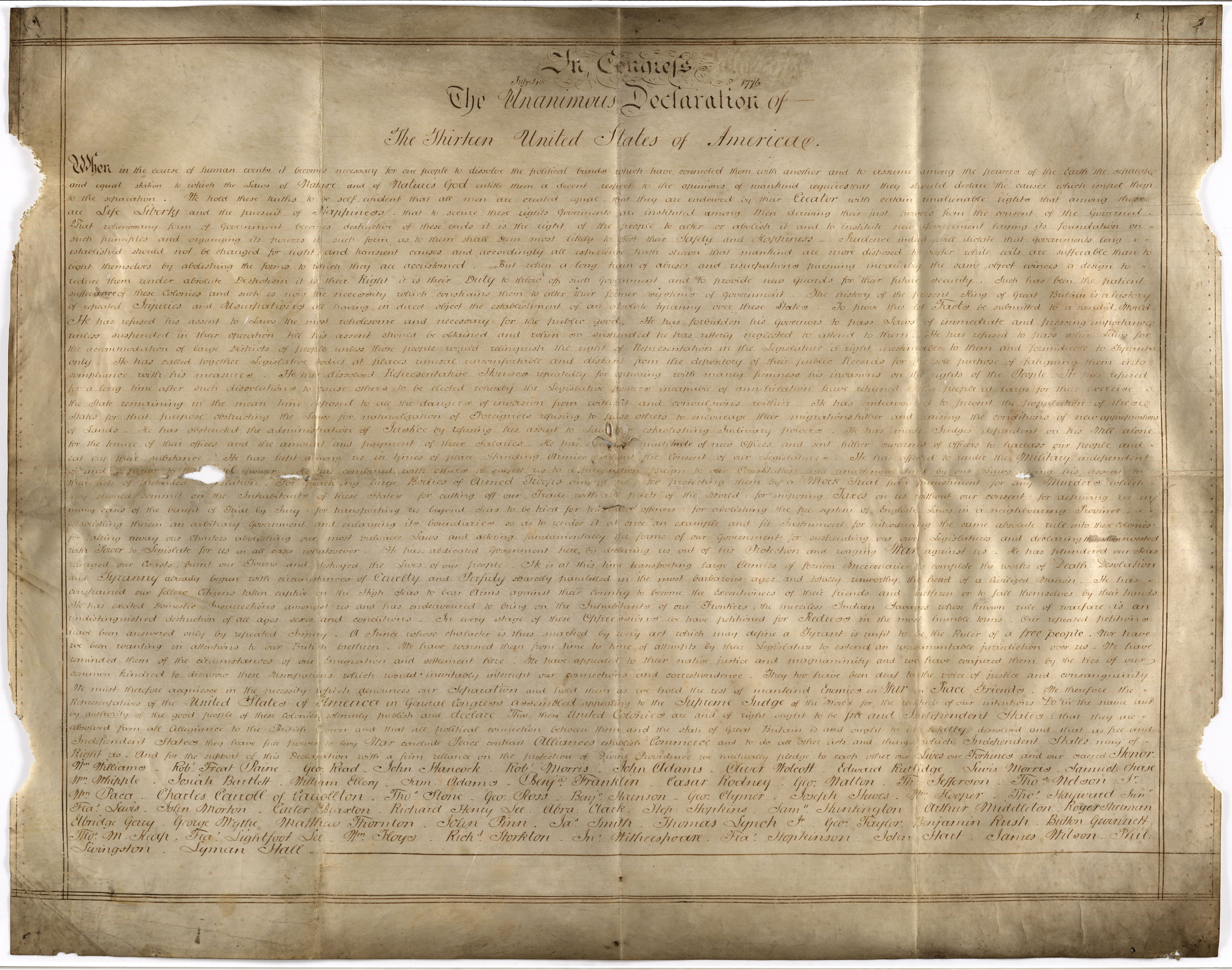 Second Handwritten Copy Of The Declaration Of Independence Discovered In England