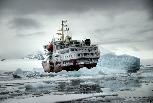A Mammoth Ice Breaker Frees A Vessel Trapped In the Frozen Ocean