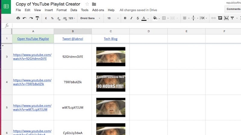 Make Anonymous, Collaborative YouTube Playlists From A Google Spreadsheet