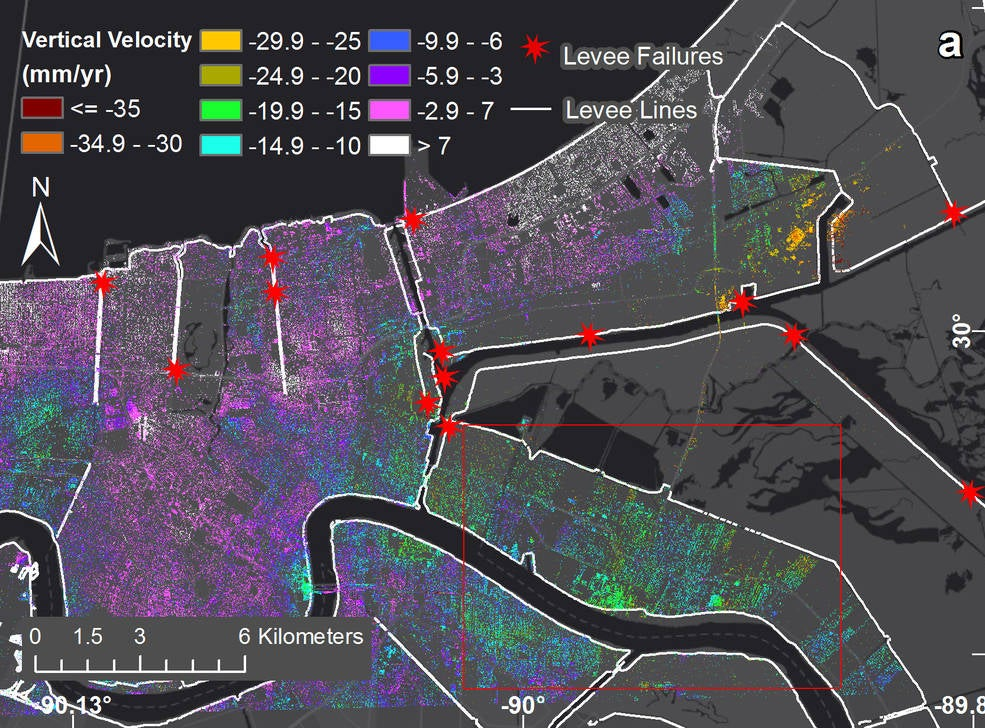 NASA Maps Show How Fast New Orleans Is Sinking