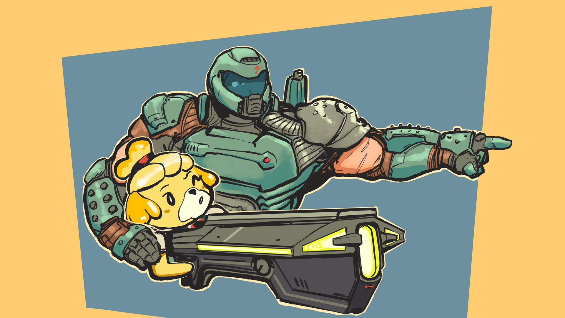 Doomguy And Isabelle Are Best Friends