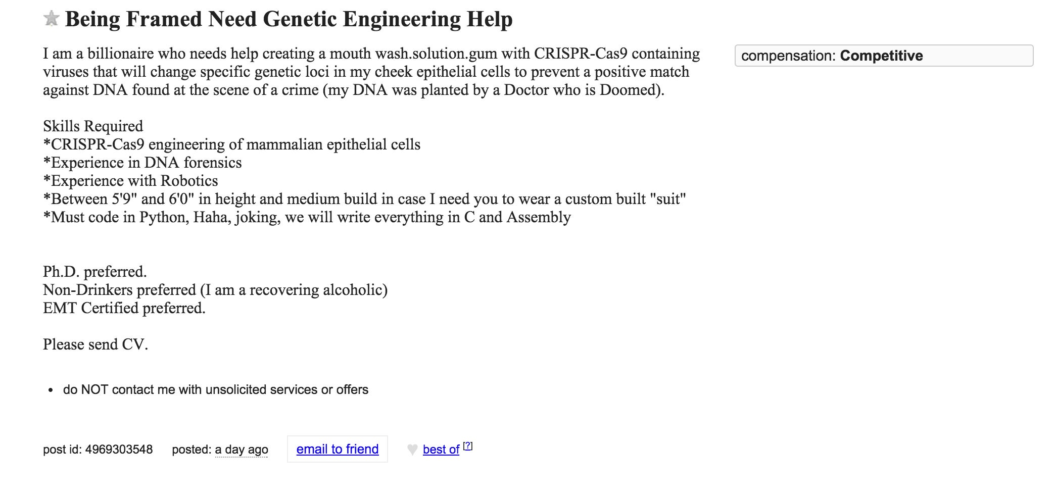 This Craigslist Ad for a Genetic Engineer Is Pure Wonderful Madness