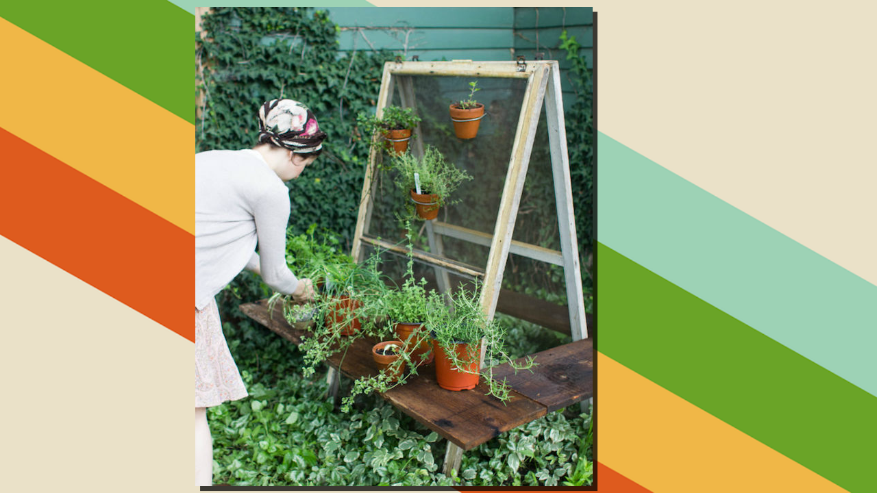 Transform an Old Window Screen into a Hanging Herb Garden