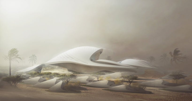 New building in the Arabian desert looks like an alien spaceship fleet
