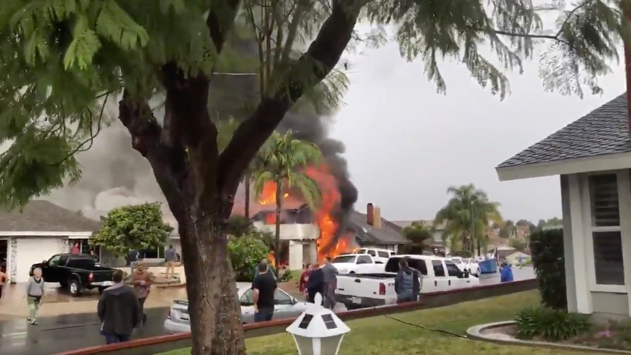 Small Plane Crashes In California's Yorba Linda, Setting Fire To Home