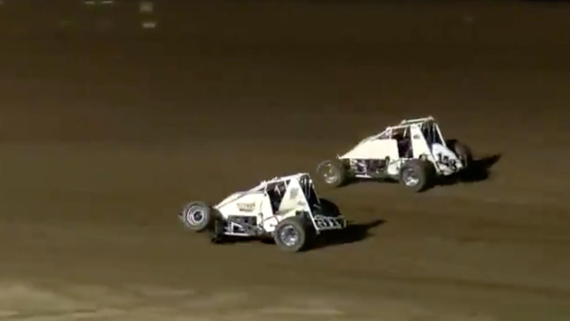Sprint Car Driver Mangles Front Suspension, Still Wins Race