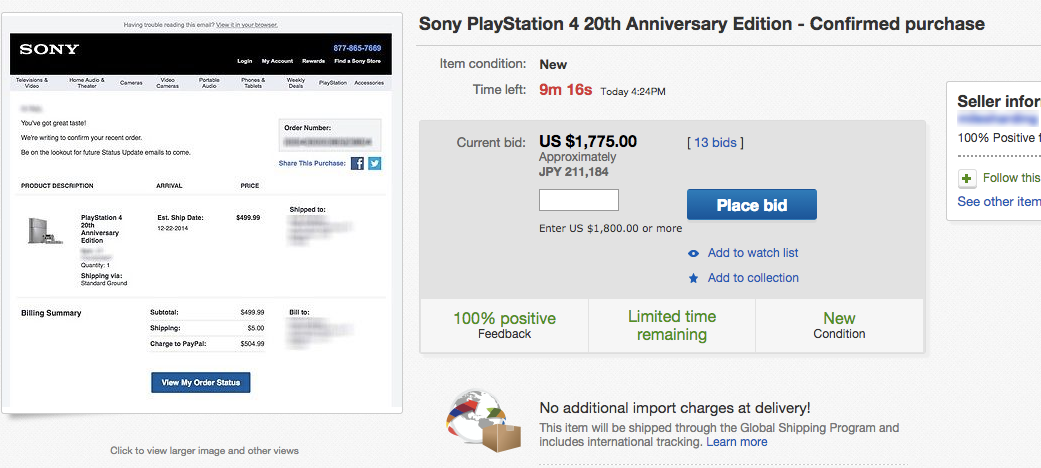 20th Anniversary PS4s Are Getting Crazy Bids on eBay