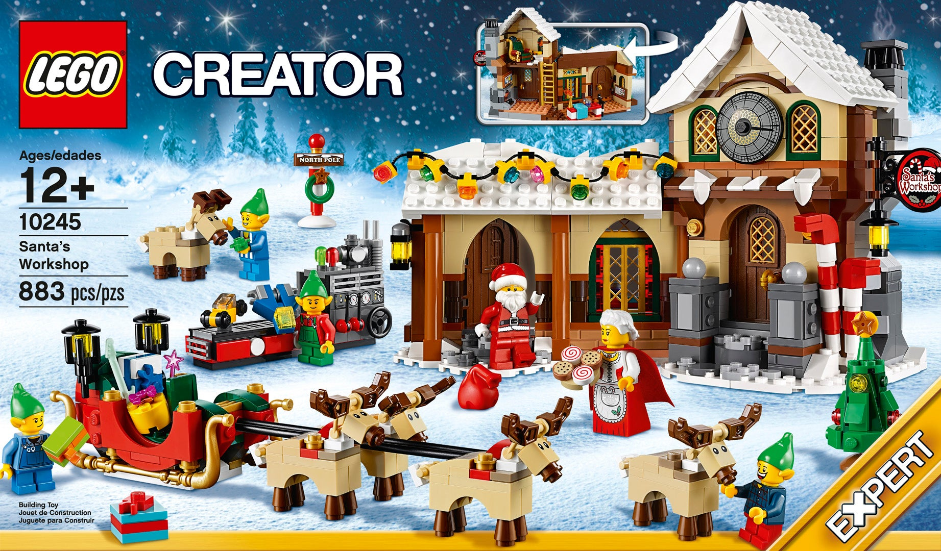 That's 883 pieces, featuring Santa, Santa's old lady, four elves and ...