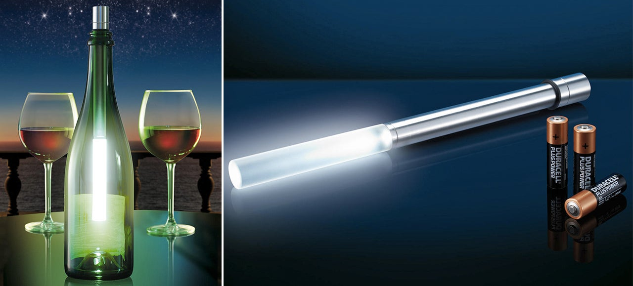 An LED Wand Turns Your Wine Bottles Into Lamps Without Flame