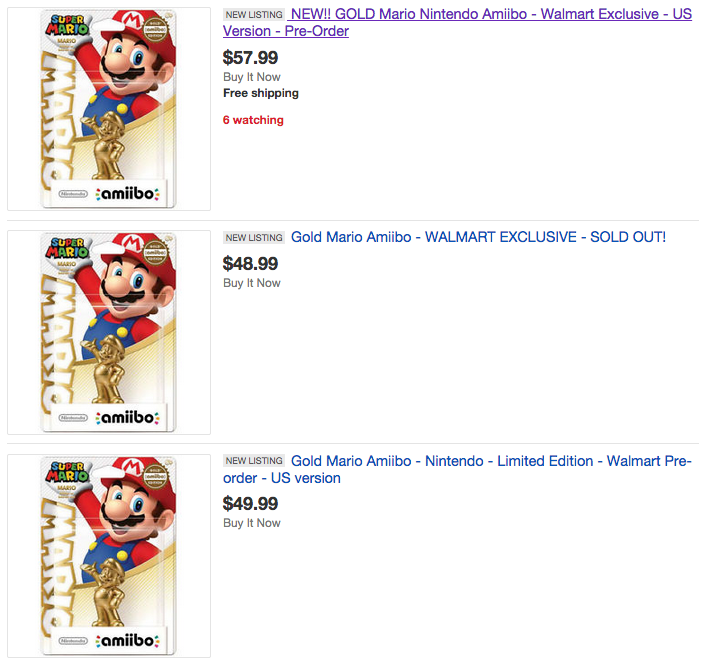 Gold Amiibos Already Sold Out, Going For Stupid Prices On eBay