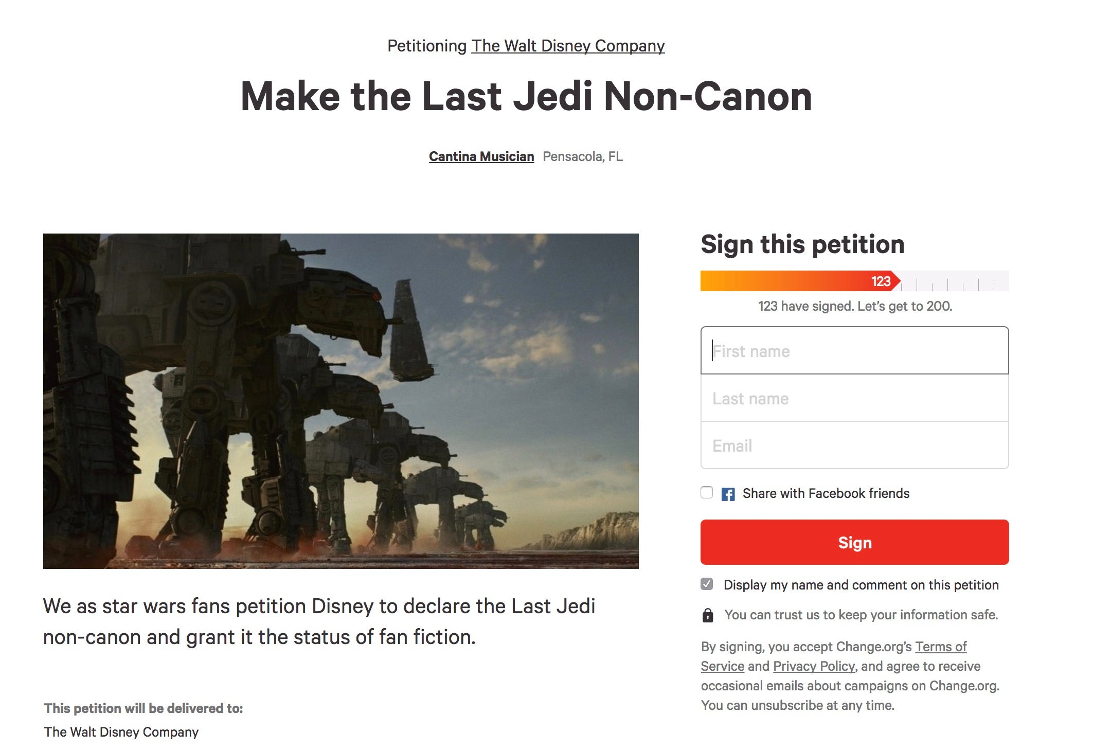 ridiculous change org petitions about the last jedi ranked