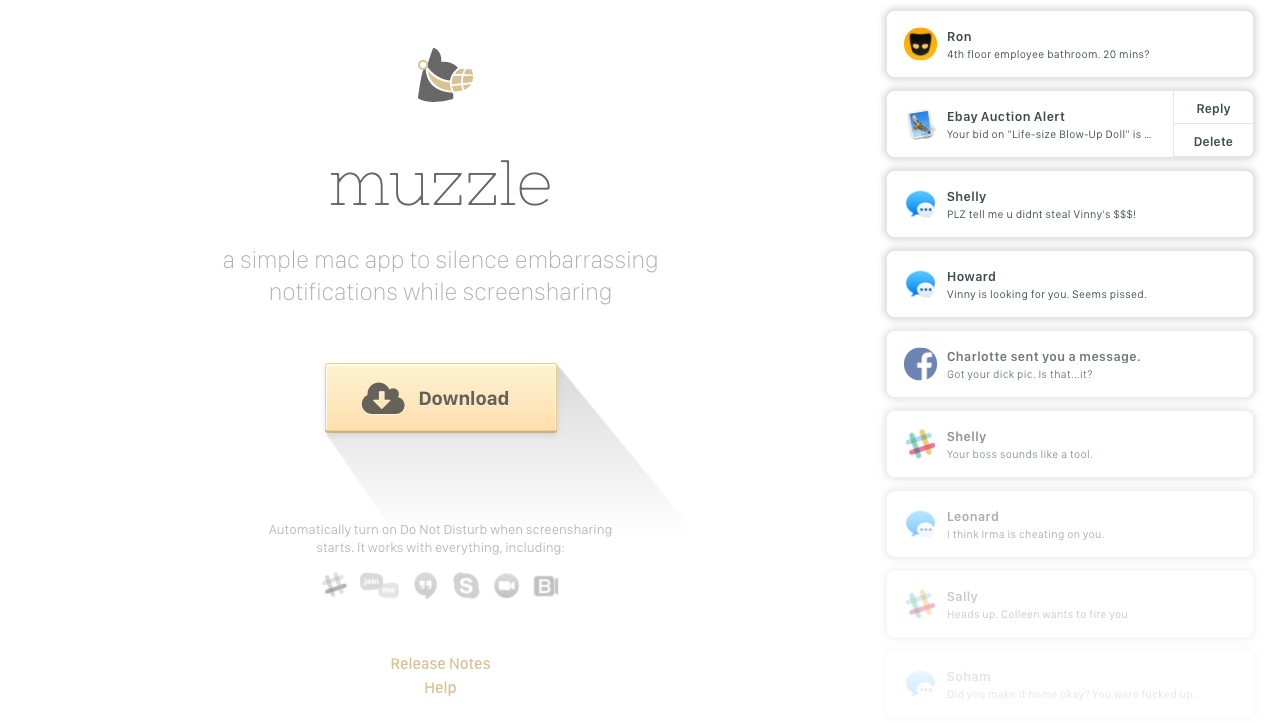Muzzle Automatically Disables OS X Notifications When You Screen-Share