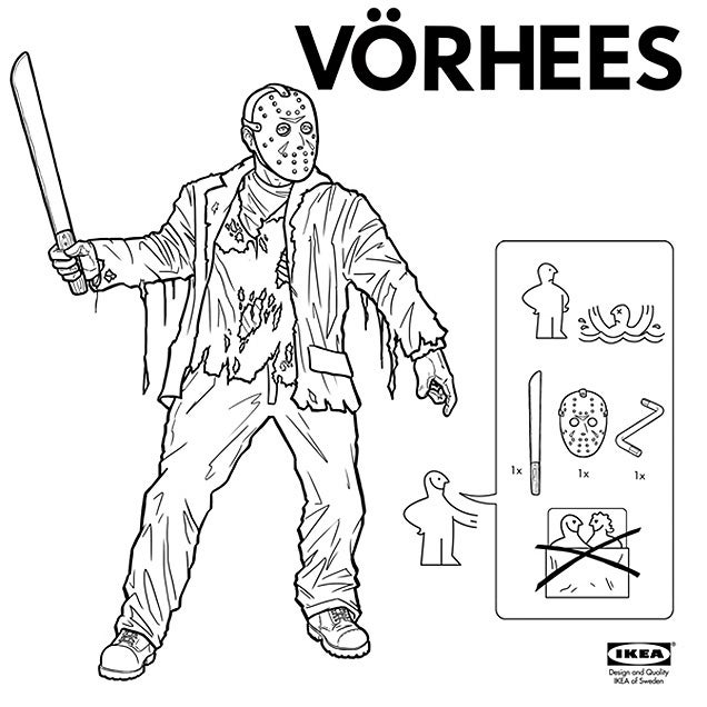 Ikea instructions to build horror characters