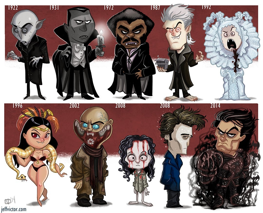 Cartoony Evolution Of Famous Vampires
