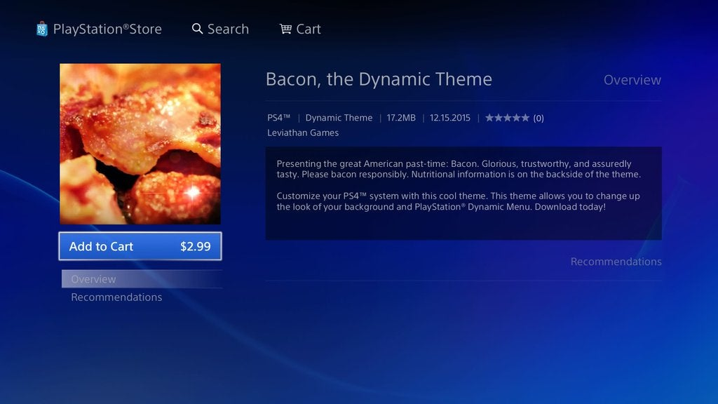 Good Morning. Here's The PS4's Dynamic Bacon Theme.