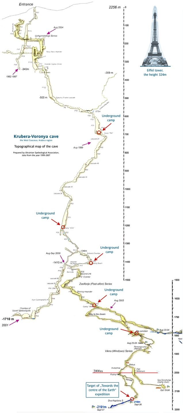 The complete map to Earth's deepest cave -- 7,208 feet deep, 8 miles long