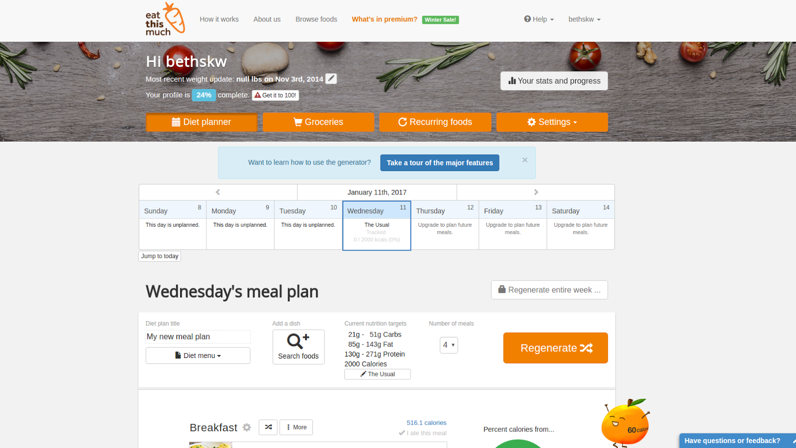 Eat This Much Adds A Calendar And Statistics To Free Accounts