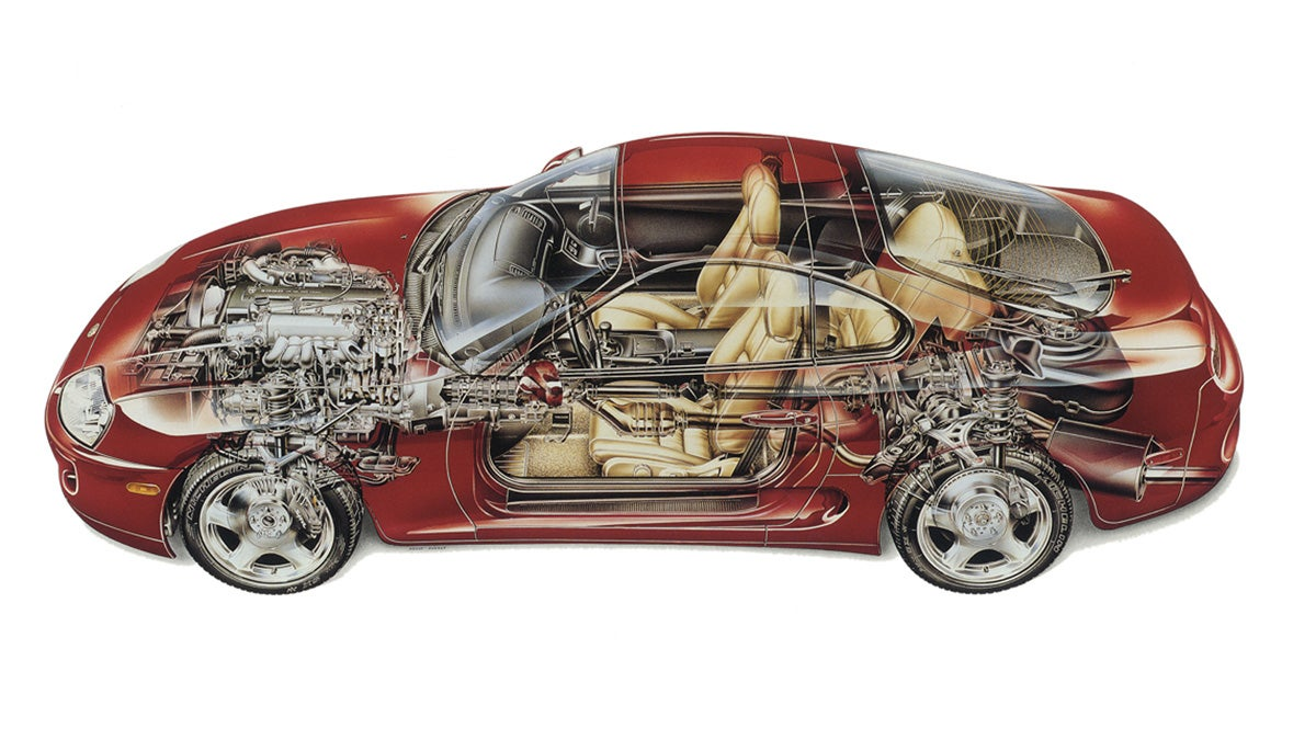 28 rare cutaway illustrations of classic cars