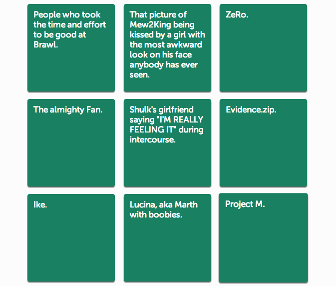 Smash Bros. Fans Have Some Great Ideas For Cards Against Humanity
