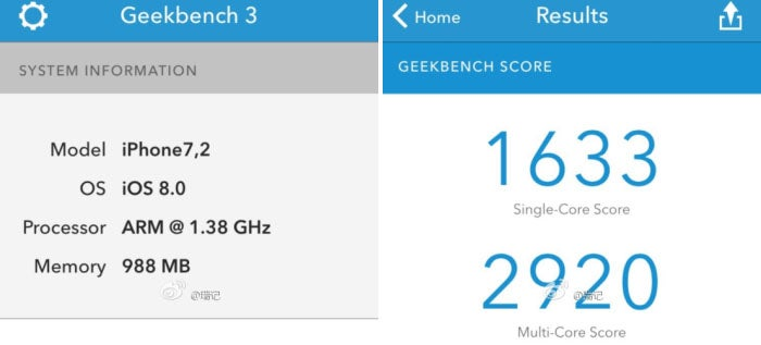 Supposed iPhone 6 Benchmarked: 1 GB RAM, Dual-Core 1.4GHz A8?