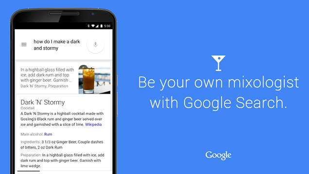 Google Adds Cocktail Recipes to Knowledge Graph Search Results