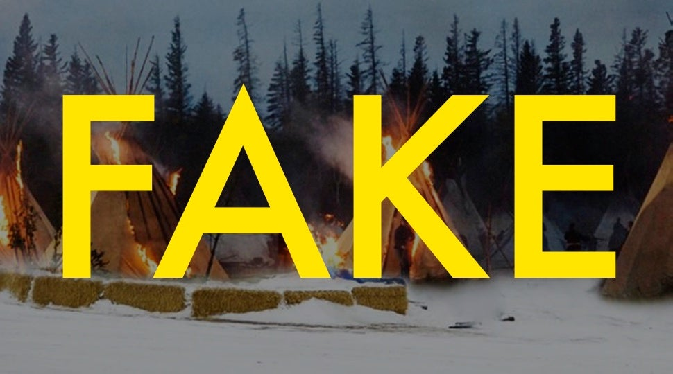 That Photo Of Police Burning Down Tipis In North Dakota Is Totally Fake