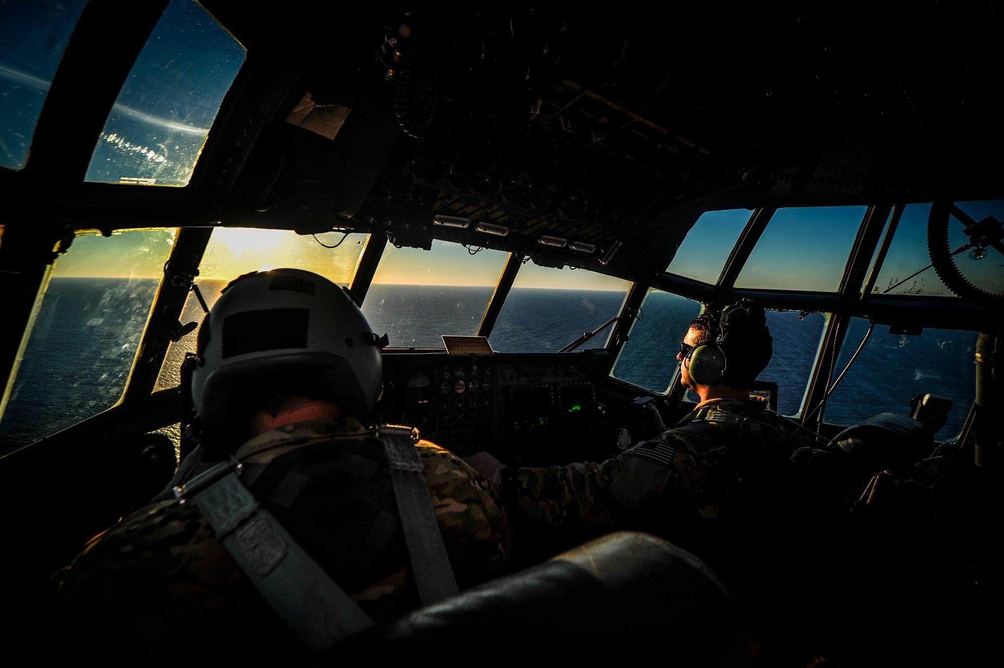 A beautiful photo of the cockpit of the Lockheed MC-130