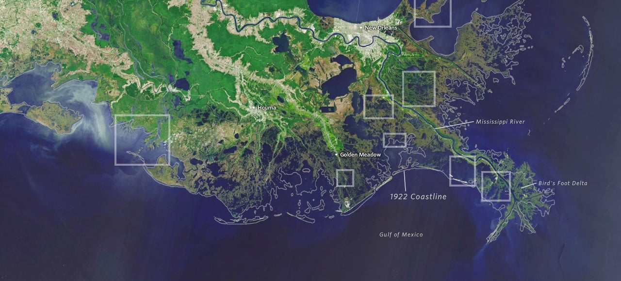 Louisiana loses a football field of land every hour to the ocean
