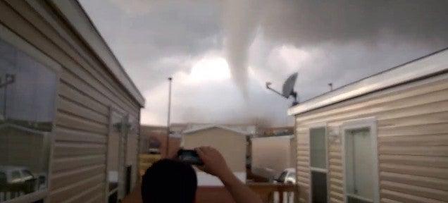 Mad guys joke as a tornado comes to destroy them