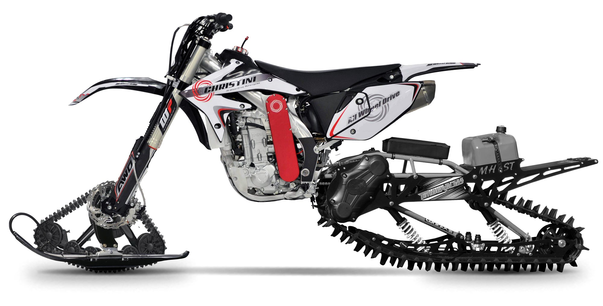 This Motorcycle With Snowmobile Tracks Is The Most Overkill Way To Navigate Sand And Snow