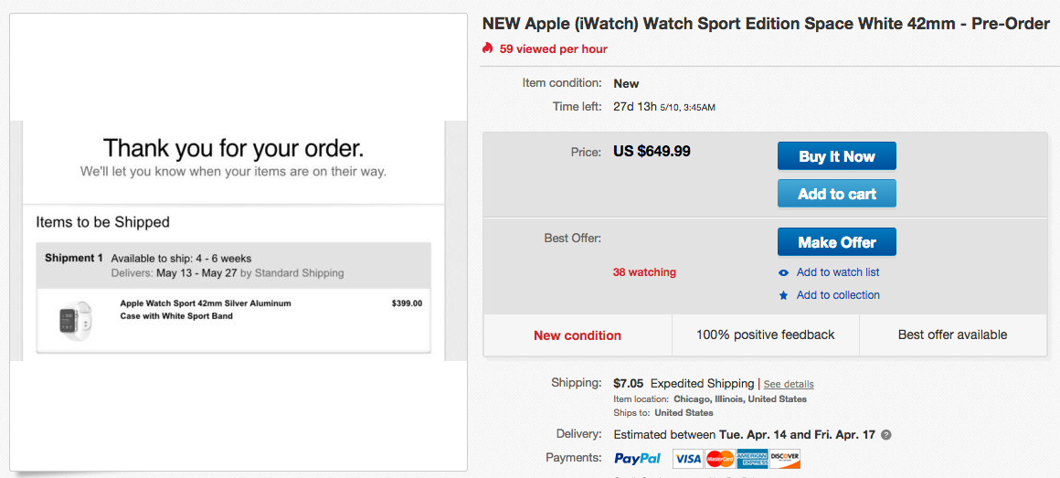 You Can Buy an Apple Watch on eBay — But It Won't Be Cheap