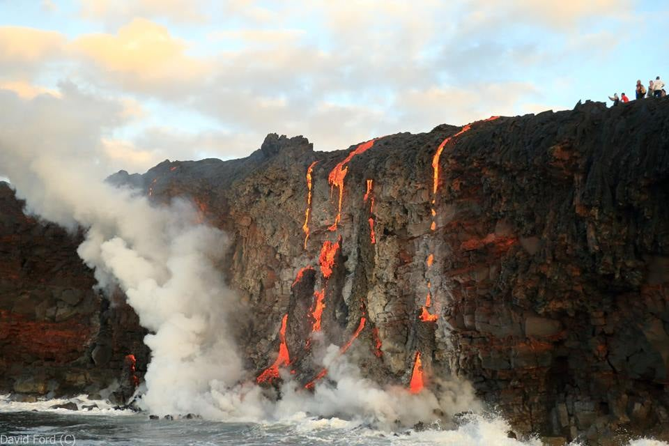 Lava Spilling Over A Cliff Looks Like Hot Candy