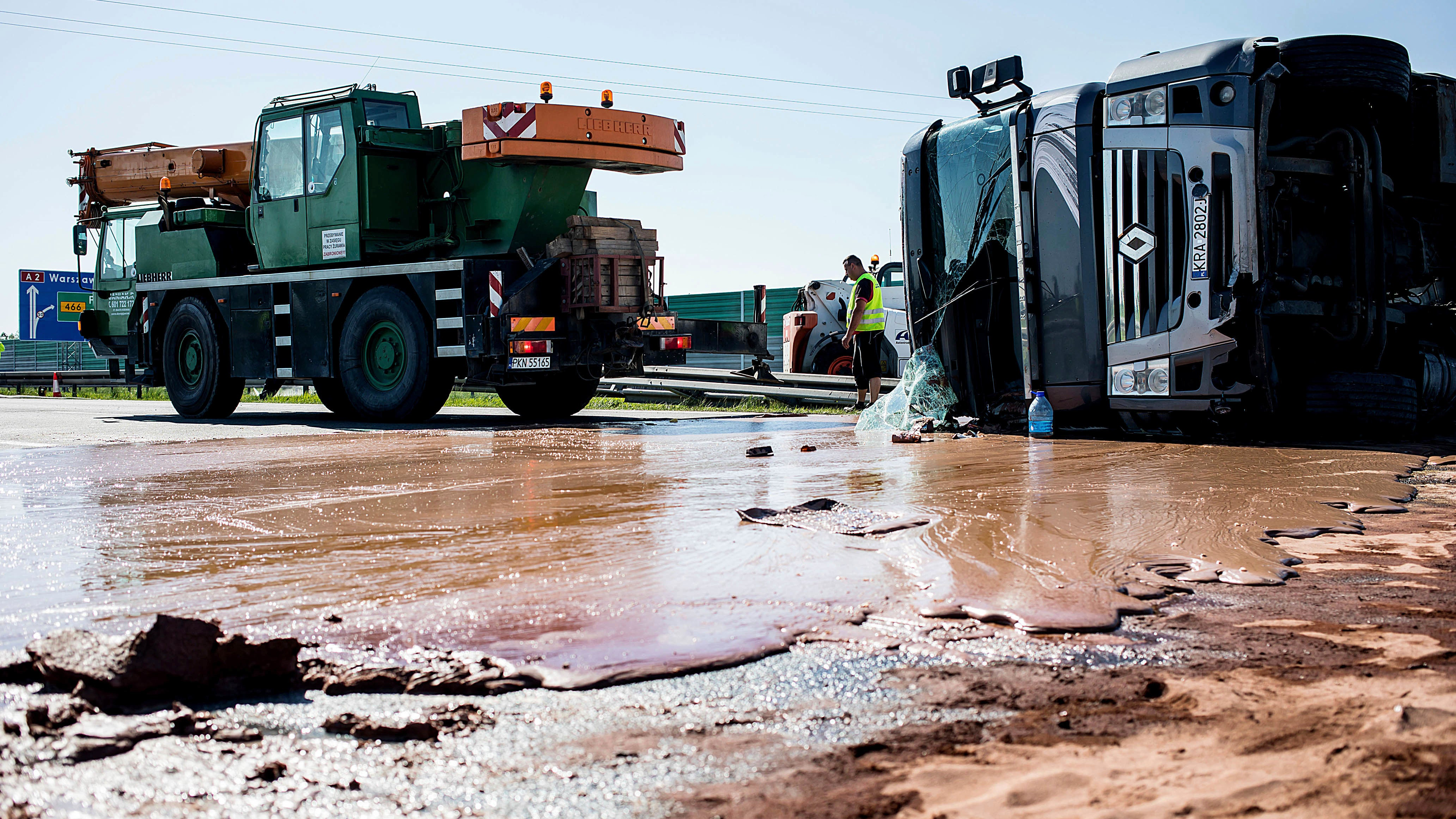 Oops! A Tippy Truck Spilled A Ton Of Sticky Chocolate All Over The Road