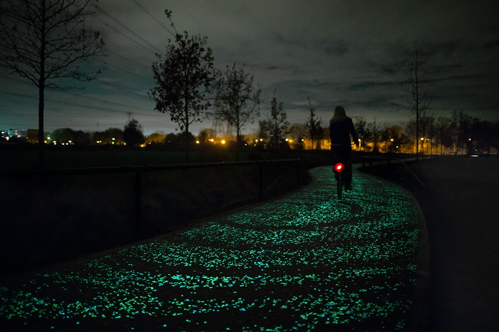 The World's First Glow-in-the-Dark Bike Path Glimmers a Ghostly Green