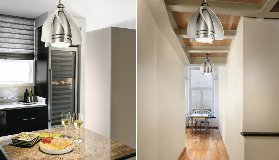 A Smaller Ceiling Light-Fan Combo Can Squeeze Into the Tiniest of Rooms