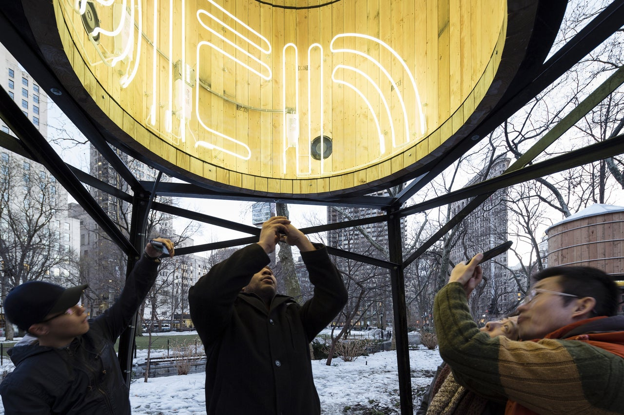 Neon Lights Make These NYC Water Towers Into Inter-Dimensional Portals