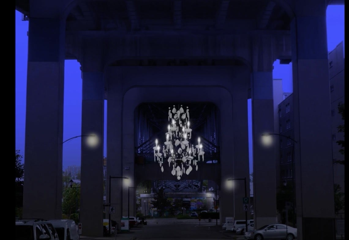 One City's Bright Idea for a Dark Highway Overpass: A Huge Chandelier