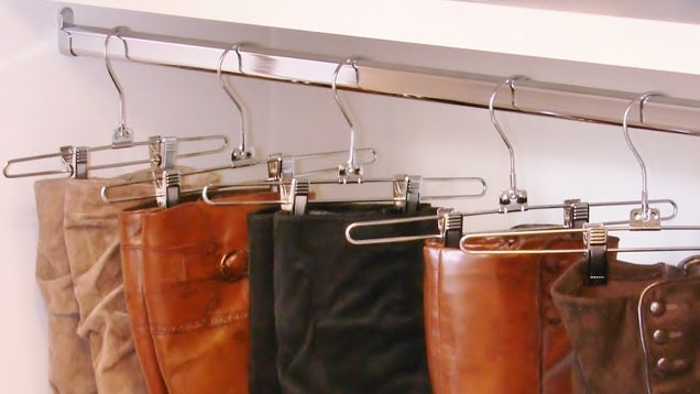 Keep Tall Boots From Flopping Over With Trouser Hangers