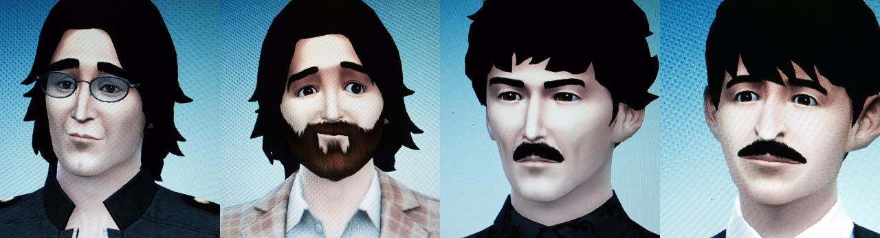 All Four Members Of The Beatles, Created In The Sims 4