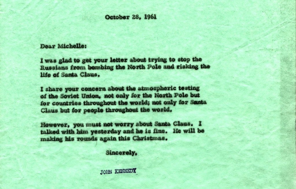 That Time a Girl Wrote to JFK Asking If The Soviets Were Going to Nuke Santa Claus