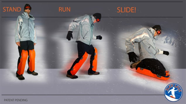 Embrace Blizzards With a Pair of Wearable Sleds Strapped To Your Legs