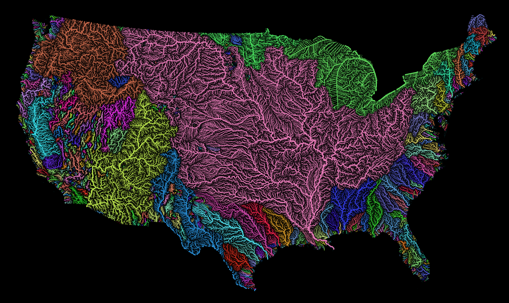 Map Of America's River Basins Show The Nation's Hidden Beauty