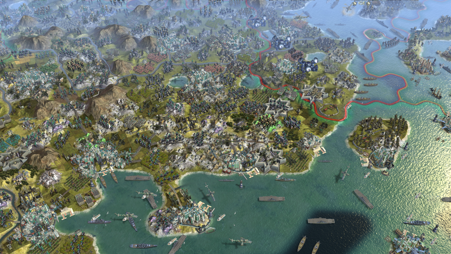 What A 61-Player Civilisation V Map Looks Like Without The UI