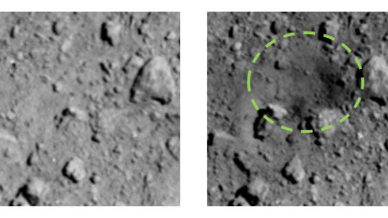 New Photos Show The Surprisingly Big Crater Blasted Into Asteroid Ryugu By Japan's Hayabusa2 Probe