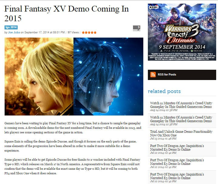 Report: Next Year, You Can Play A Demo Of Final Fantasy XV