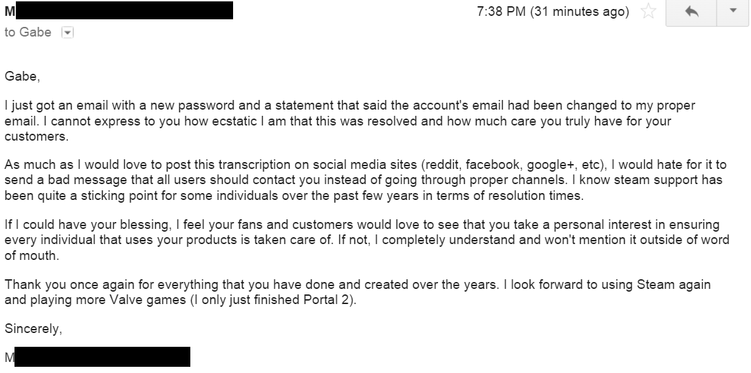 Gabe Newell Shows Us How Customer Support Is Done
